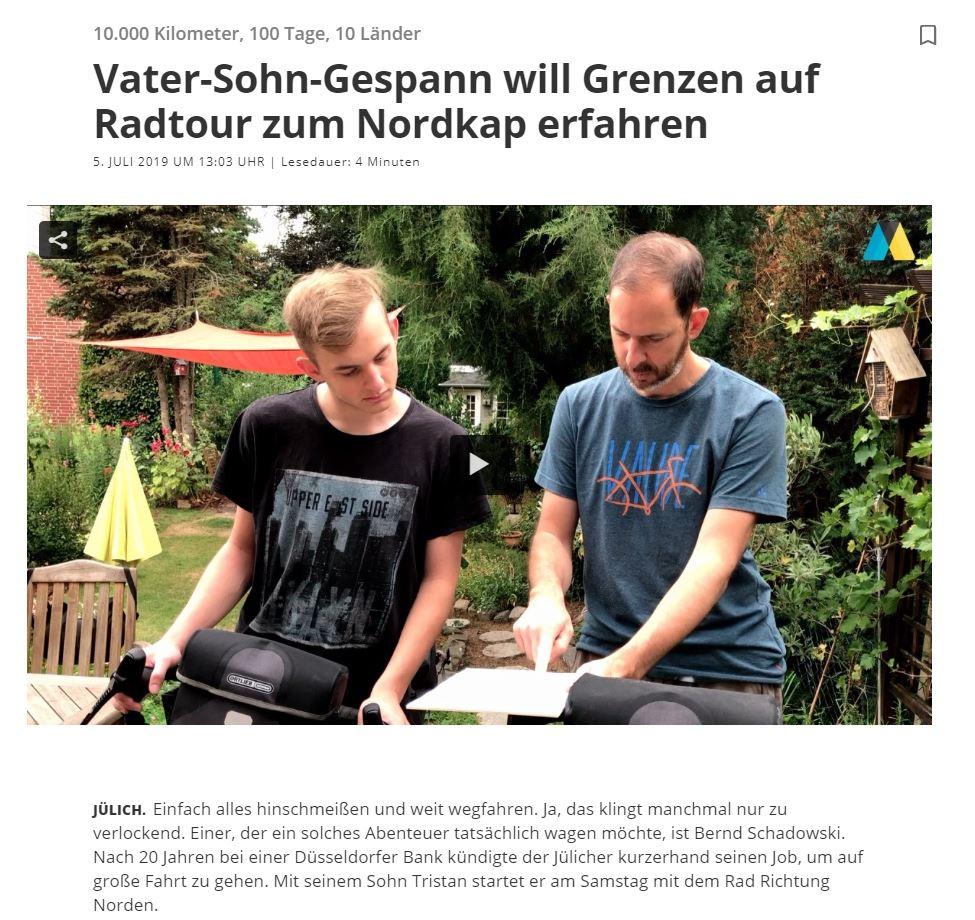 Aachener Zeitung - Radreise zum Nordkapp