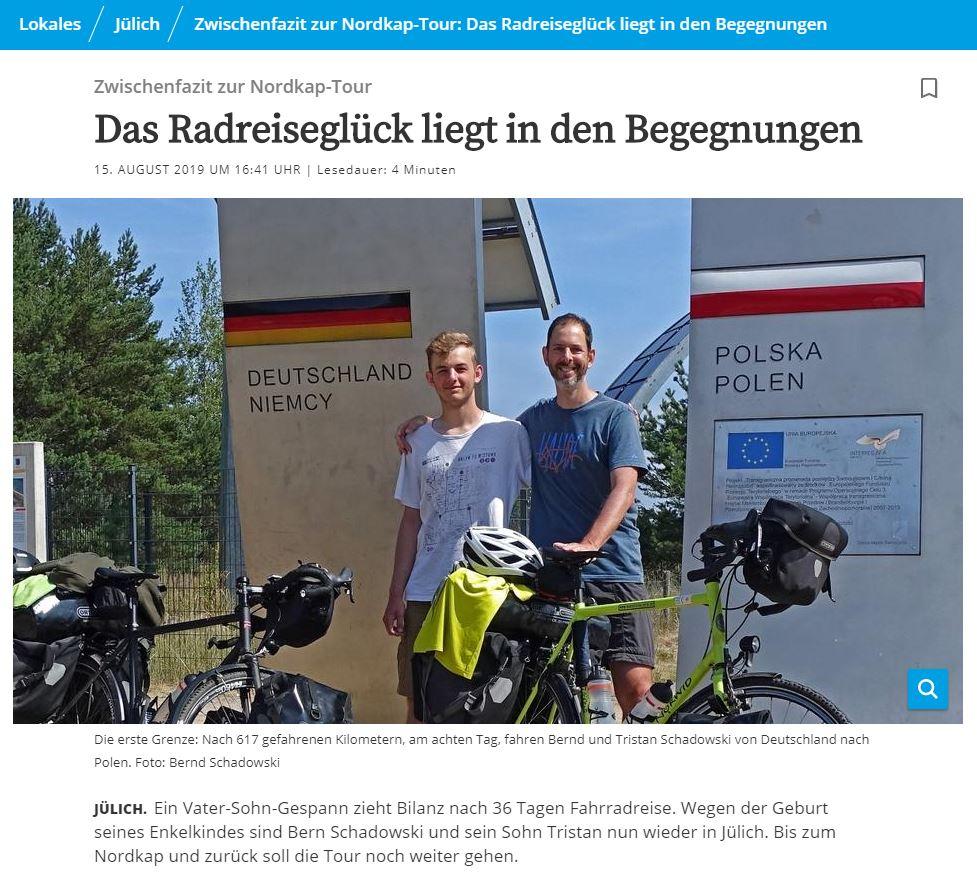 Aachener Zeitung Radreiseglück Ostsee Umrundung